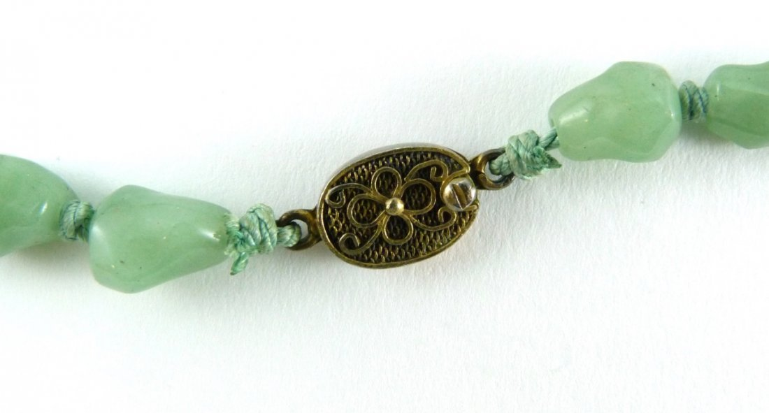 CHINESE NATURAL JADE CUT SILVER NECKLACE - 3