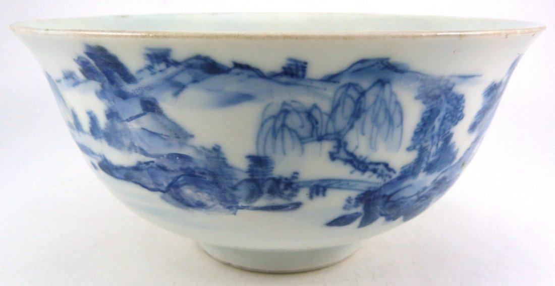 CHINESE KANGXI PORCELAIN BLUE & WHITE BOWL - 3