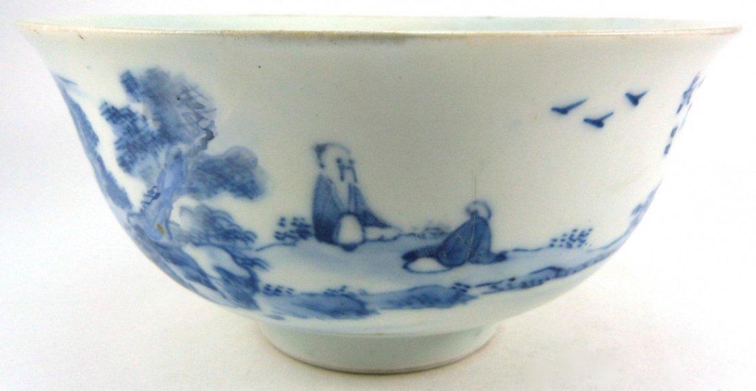 CHINESE KANGXI PORCELAIN BLUE & WHITE BOWL - 4