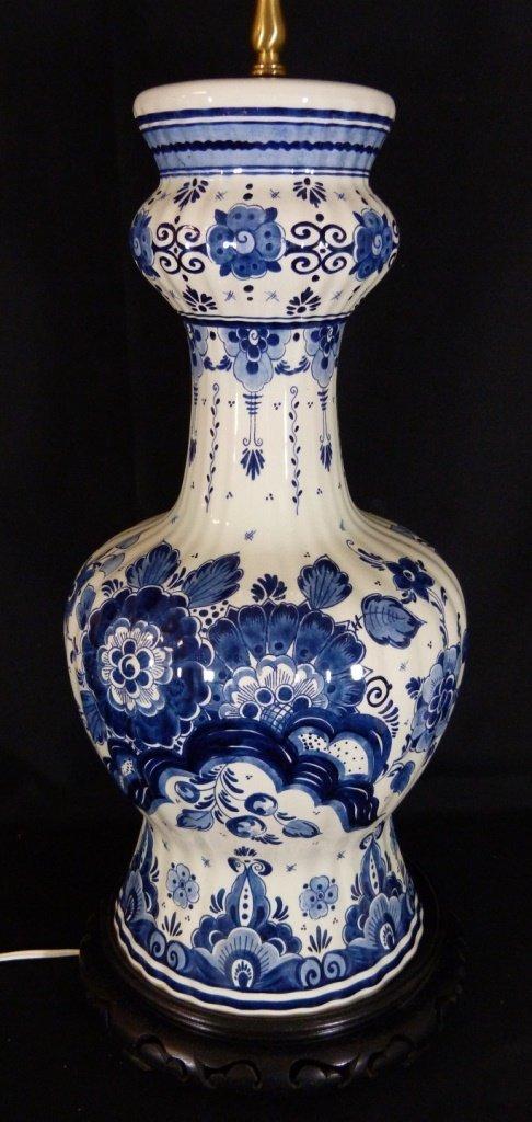 VINTAGE DELFT DUTCH BLUE & WHITE LAMP - 2