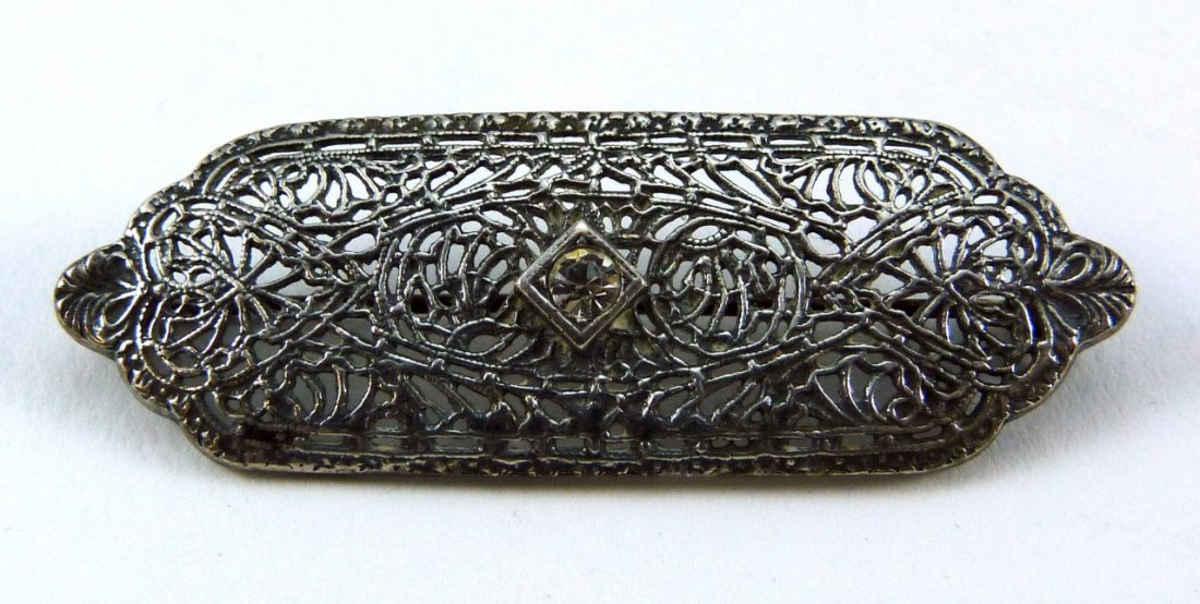 ART DECO SILVER FILIGREE w DIAMOND BROOCH