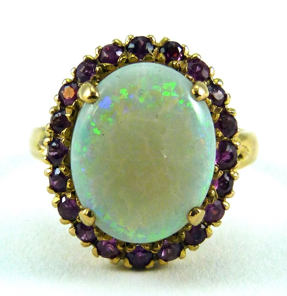 14KT YELLOW GOLD OPAL AND RUBY RING