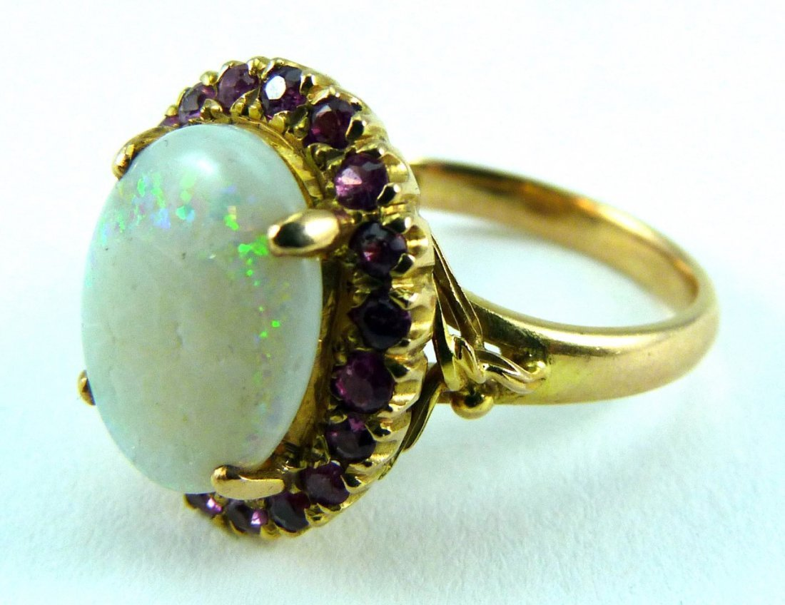 14KT YELLOW GOLD OPAL AND RUBY RING - 2