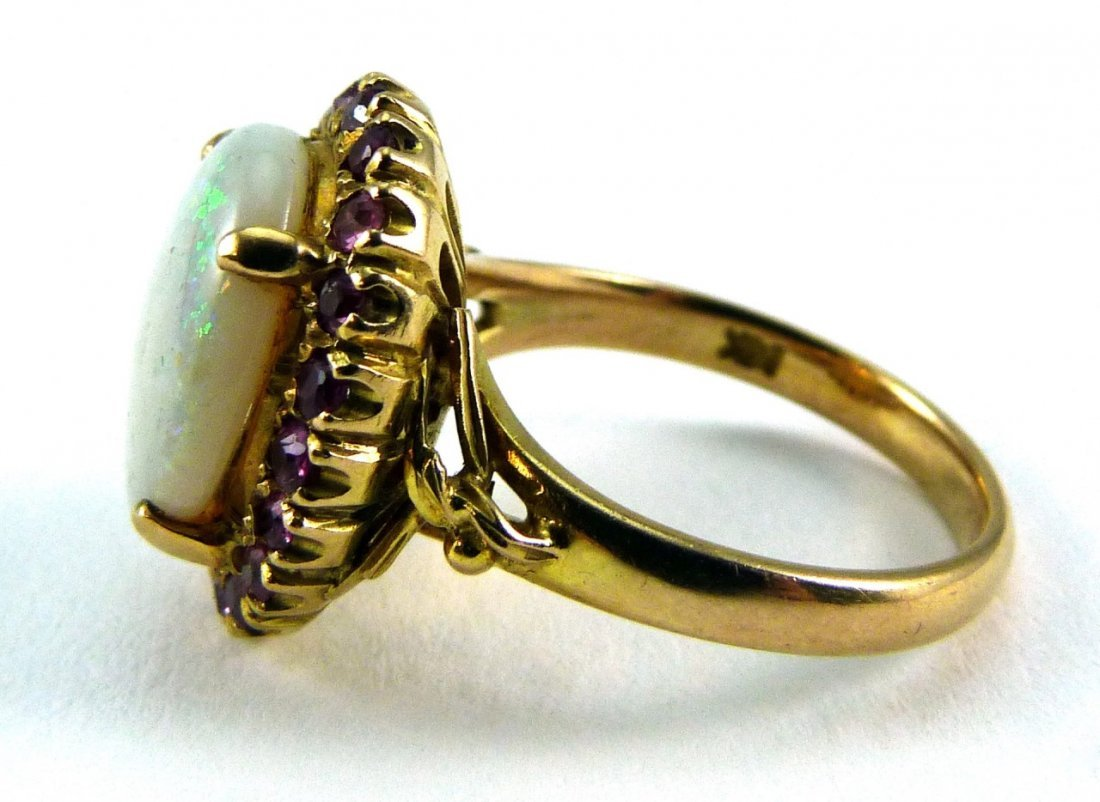 14KT YELLOW GOLD OPAL AND RUBY RING - 3