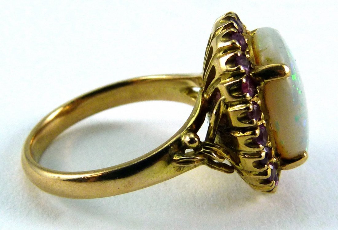 14KT YELLOW GOLD OPAL AND RUBY RING - 5