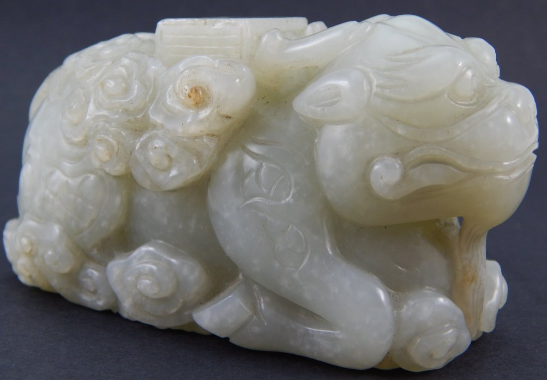 CHINESE CARVED WHITE JADE MYTHICAL BEAST