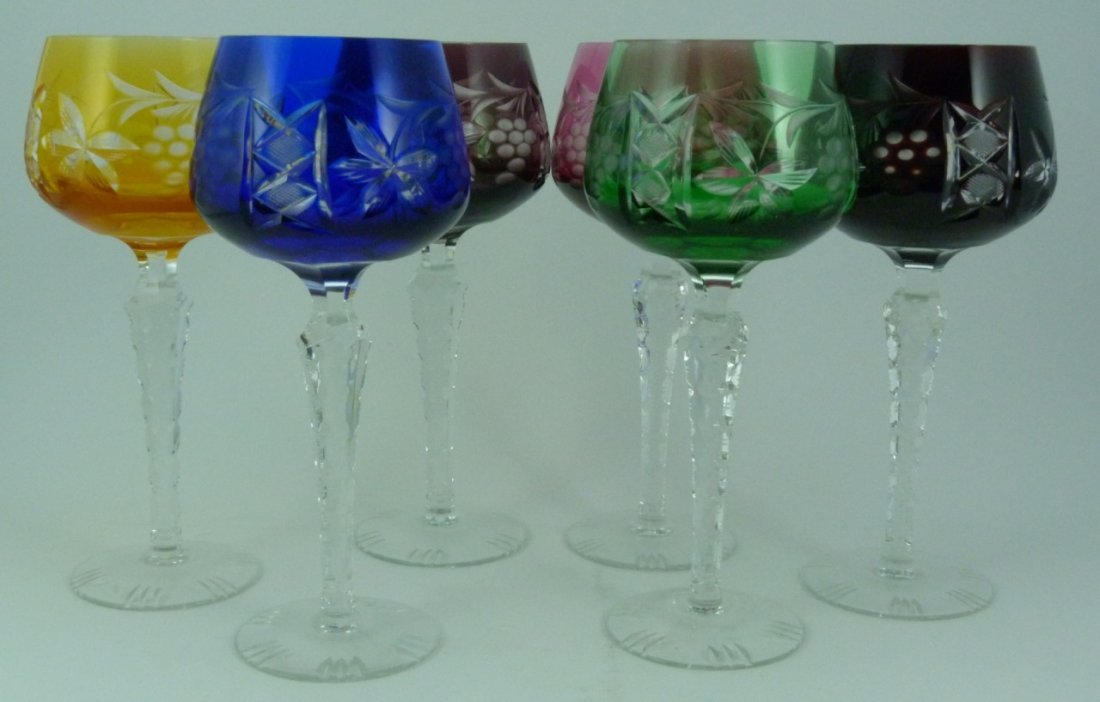 6pc BOHEMIAN STYLE CUT TO CLEAR WINE GLASSES