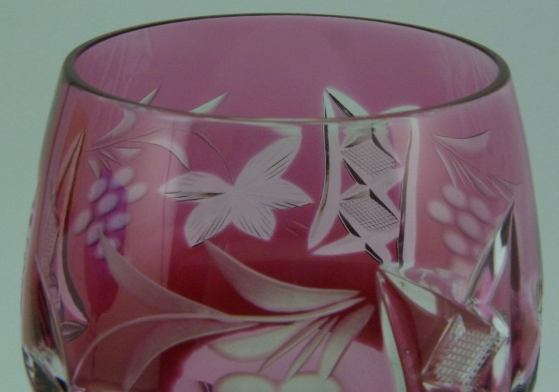 6pc BOHEMIAN STYLE CUT TO CLEAR WINE GLASSES - 5