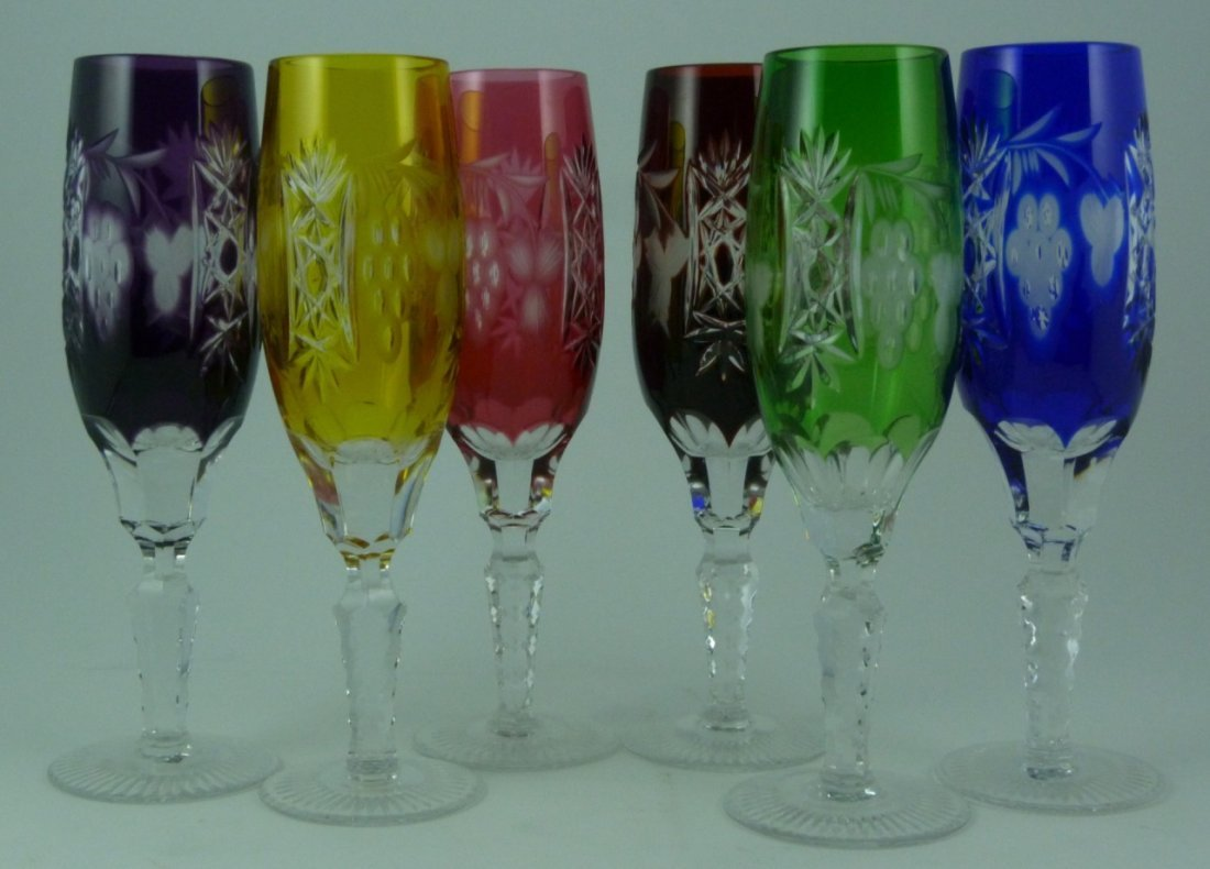 6pc BOHEMIAN STYLE CUT TO CLEAR CHAMPAGNE FLUTES