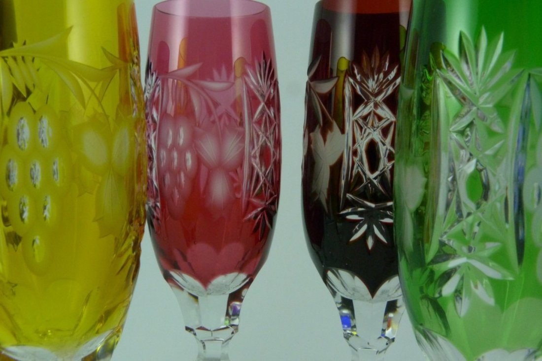 6pc BOHEMIAN STYLE CUT TO CLEAR CHAMPAGNE FLUTES - 2
