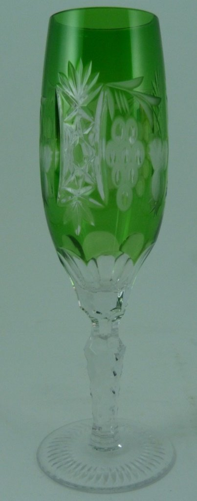 6pc BOHEMIAN STYLE CUT TO CLEAR CHAMPAGNE FLUTES - 8