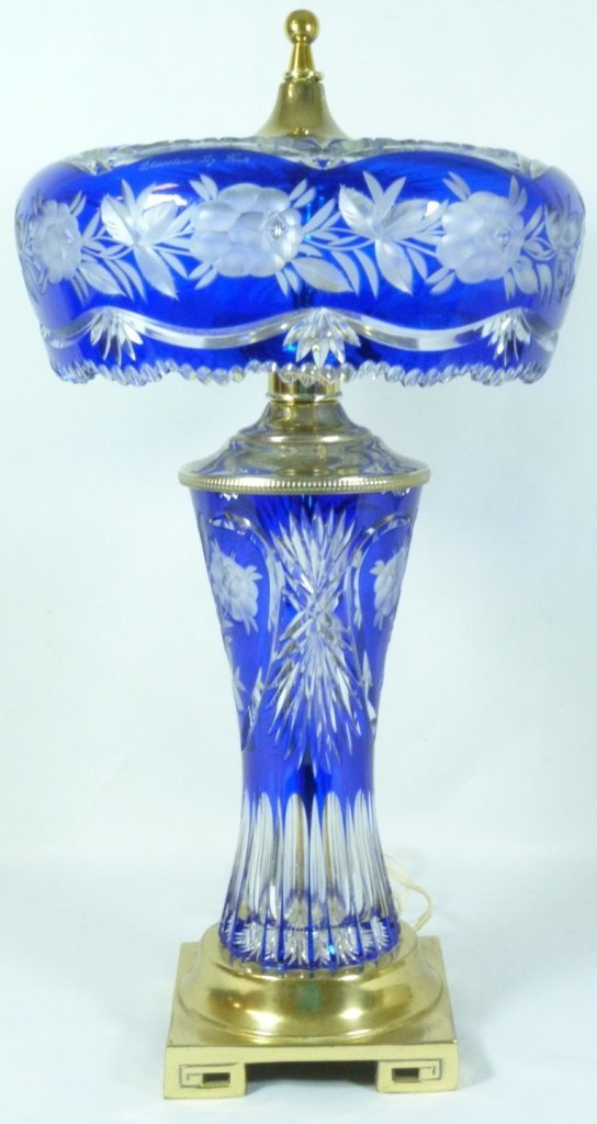 DRESDEN BY PECK COBALT CUT TO CLEAR TABLE LAMP
