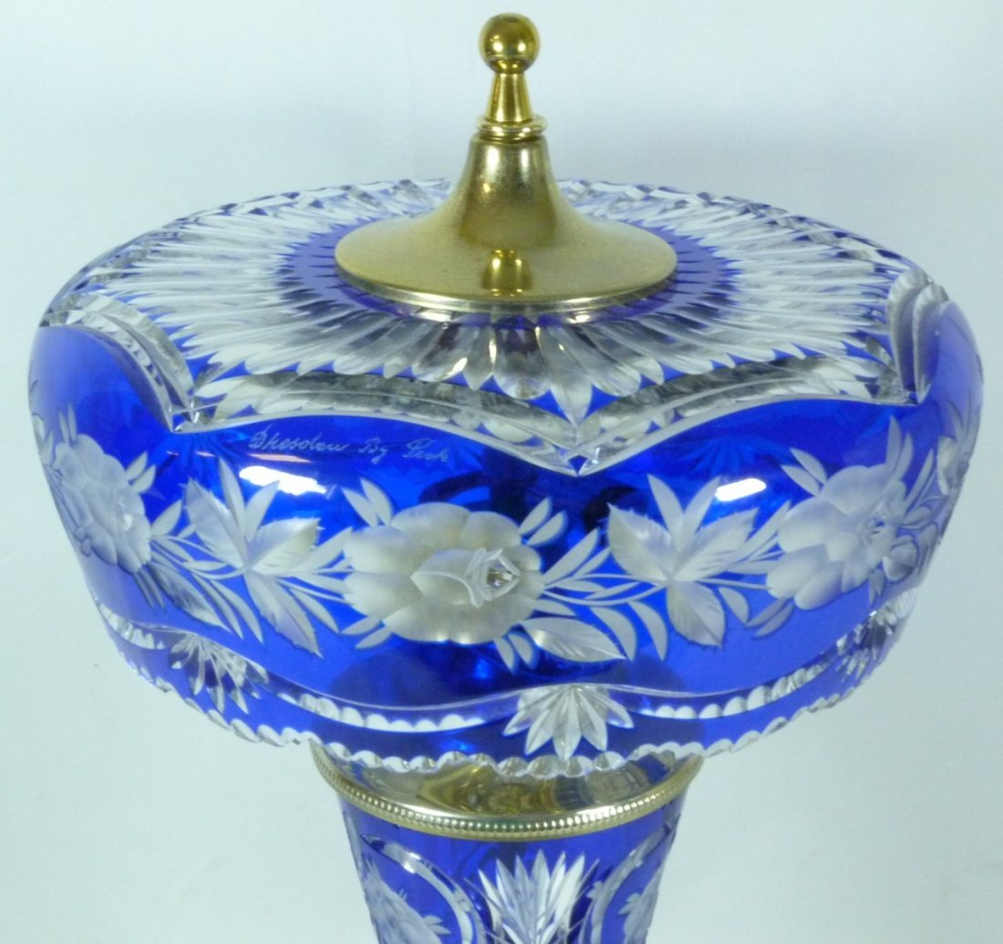 DRESDEN BY PECK COBALT CUT TO CLEAR TABLE LAMP - 2
