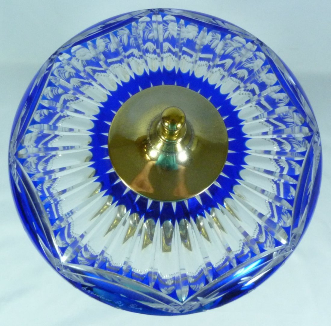 DRESDEN BY PECK COBALT CUT TO CLEAR TABLE LAMP - 6
