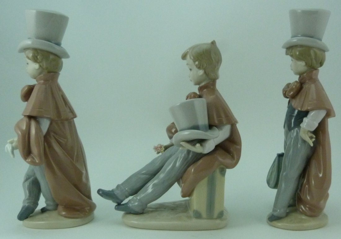3pc LLADRO VICTORIAN BOYS PORCELAIN FIGURINES - 2