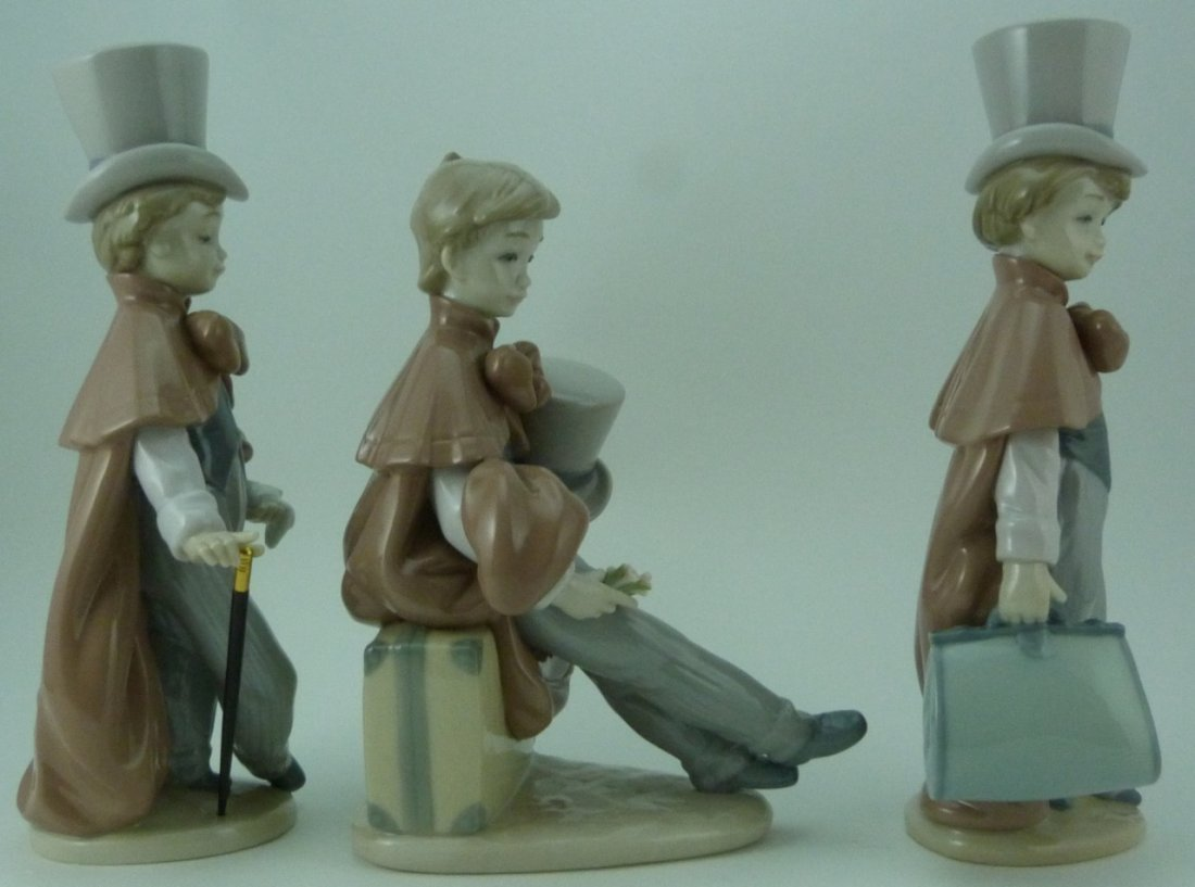 3pc LLADRO VICTORIAN BOYS PORCELAIN FIGURINES - 4