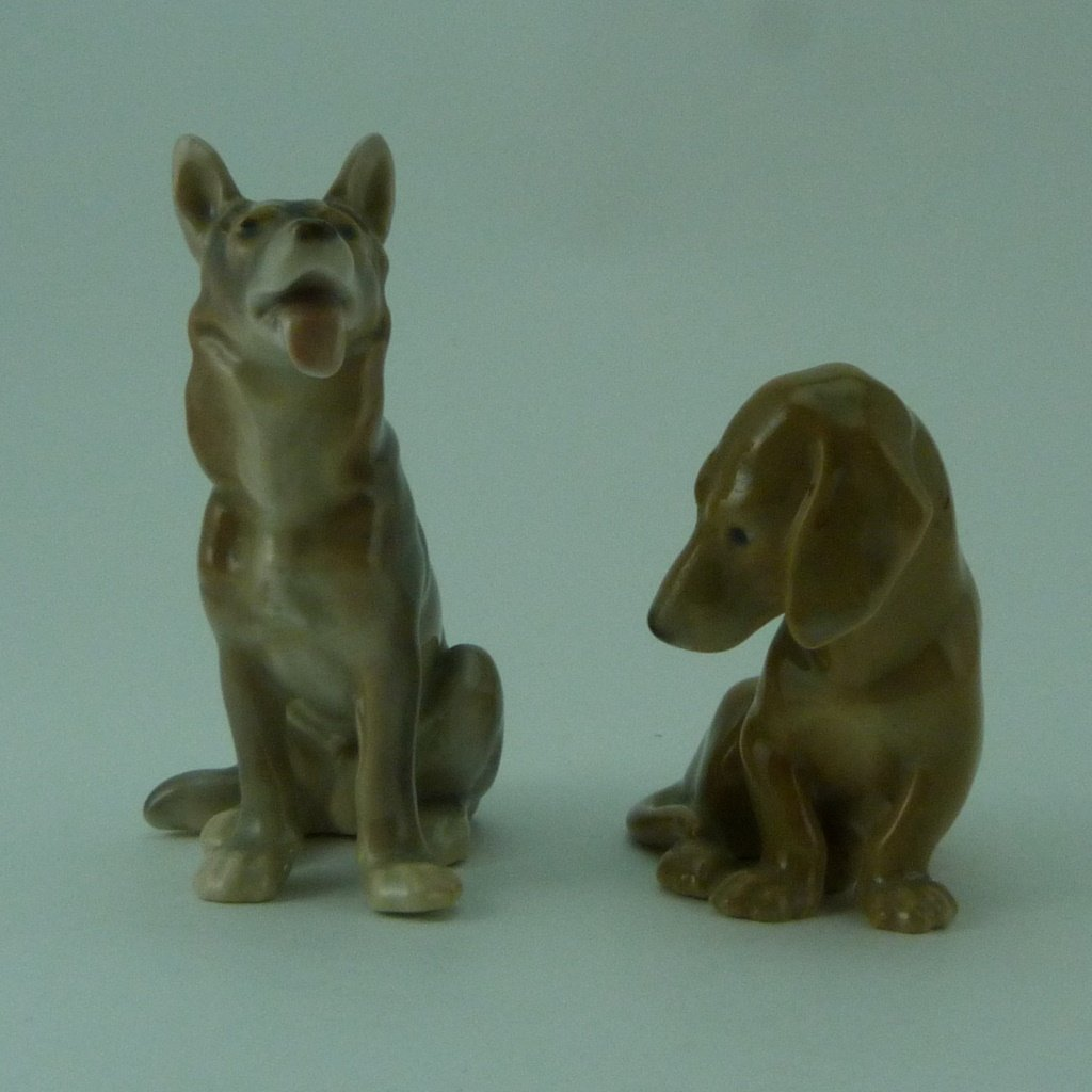 2pc ROYAL COPENHAGEN PORCELAIN DOG FIGURINES