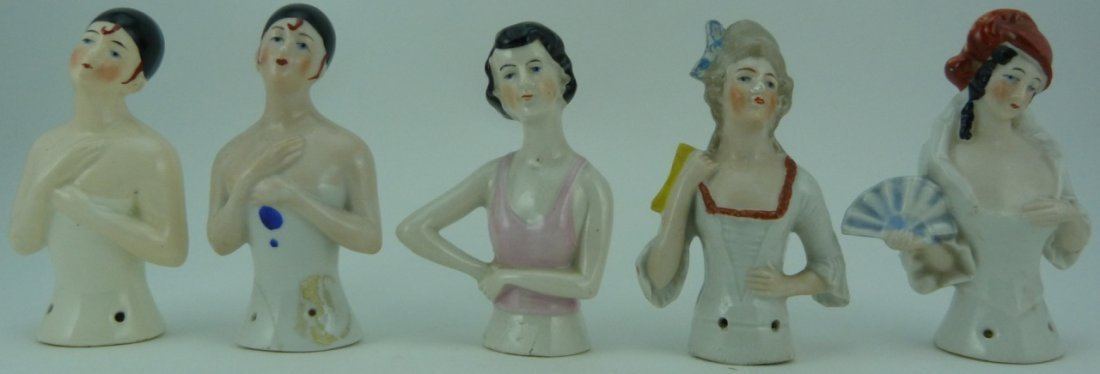 5pc GERMAN VINTAGE PORCELAIN PIN CUSHION DOLL TOPS