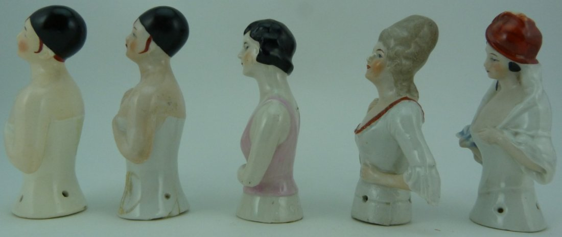 5pc GERMAN VINTAGE PORCELAIN PIN CUSHION DOLL TOPS - 2