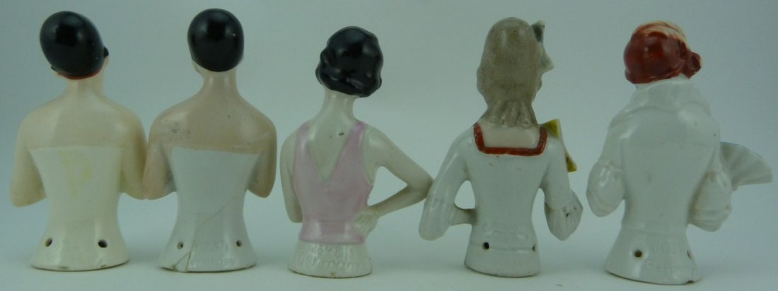 5pc GERMAN VINTAGE PORCELAIN PIN CUSHION DOLL TOPS - 3