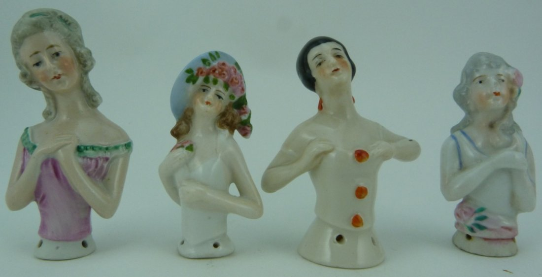 4pc GERMAN VINTAGE PORCELAIN PIN CUSHION DOLL TOPS