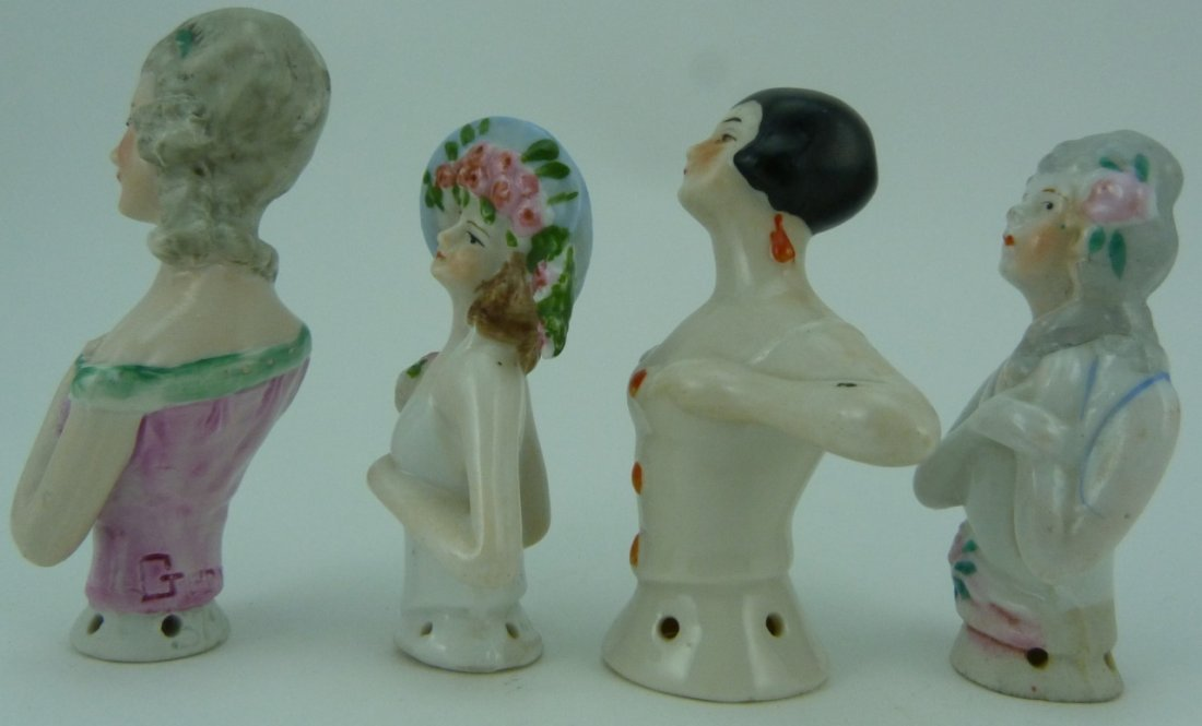 4pc GERMAN VINTAGE PORCELAIN PIN CUSHION DOLL TOPS - 2