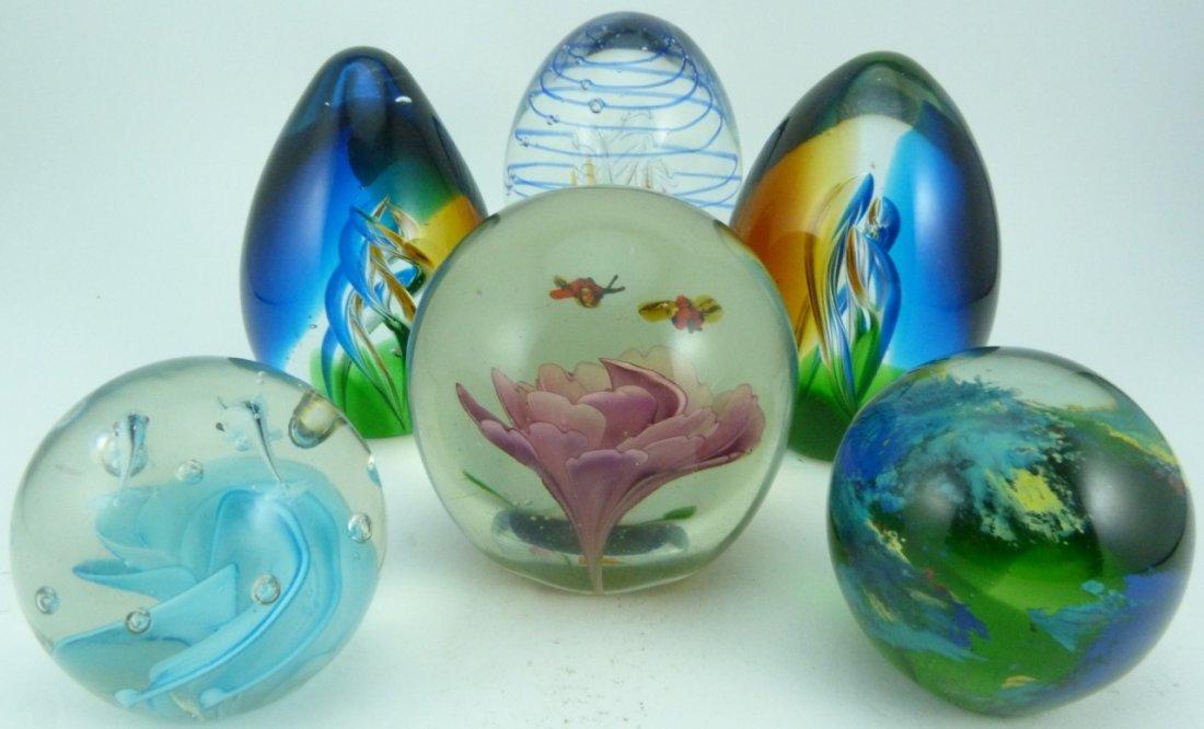 6pc ART GLASS ITALIAN PAPERWEIGHTS