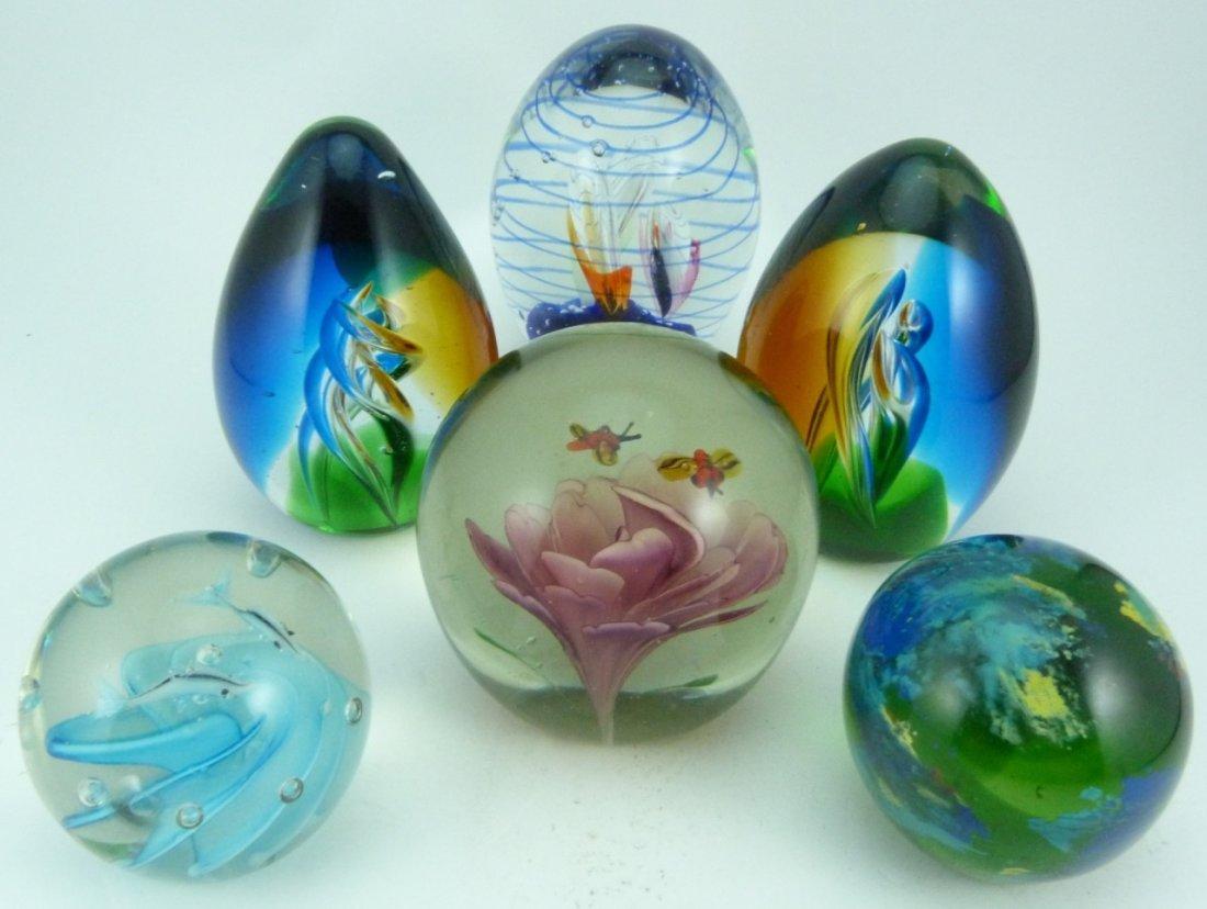 6pc ART GLASS ITALIAN PAPERWEIGHTS - 2