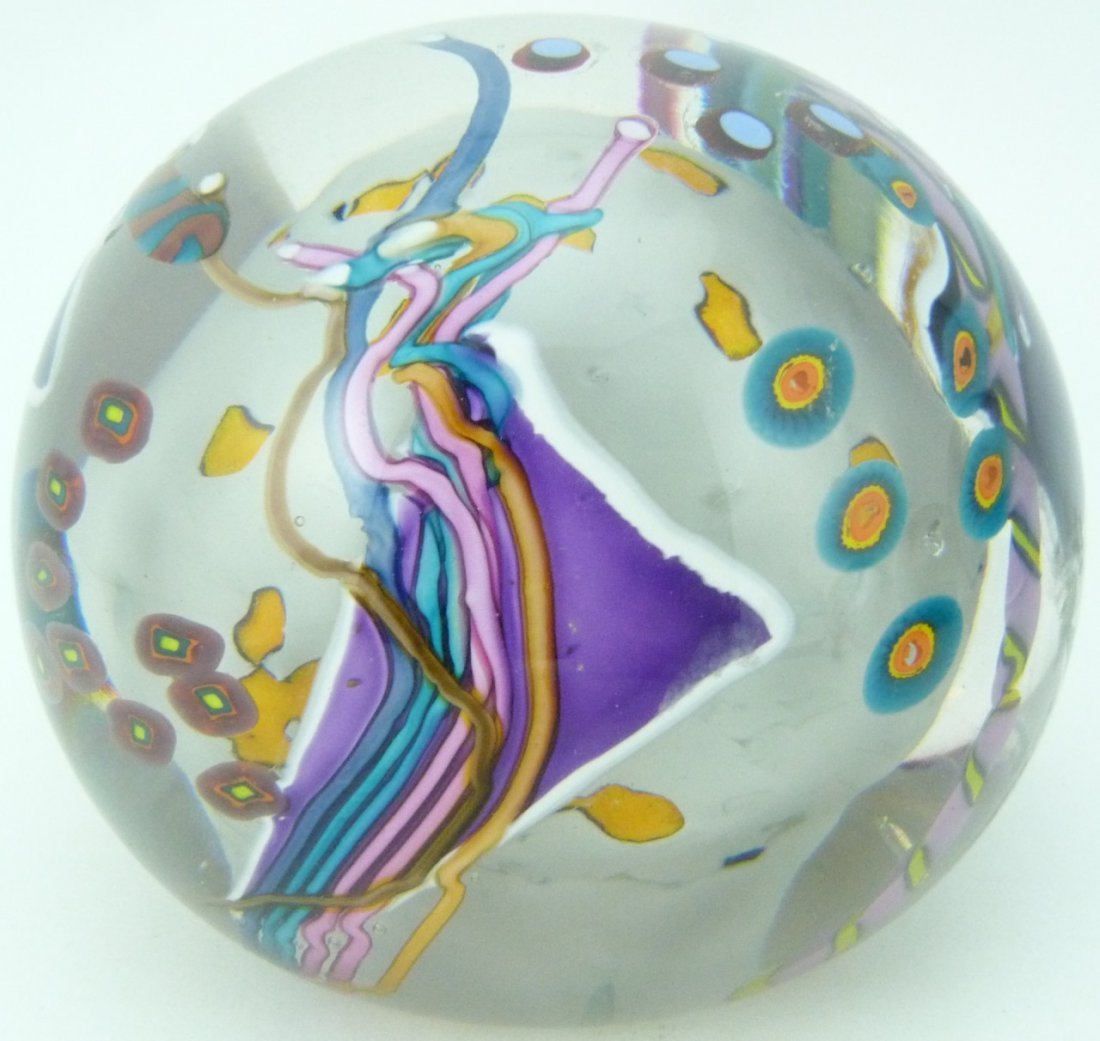 5pc LARGE ART GLASS ITALIAN PAPERWEIGHTS - 3