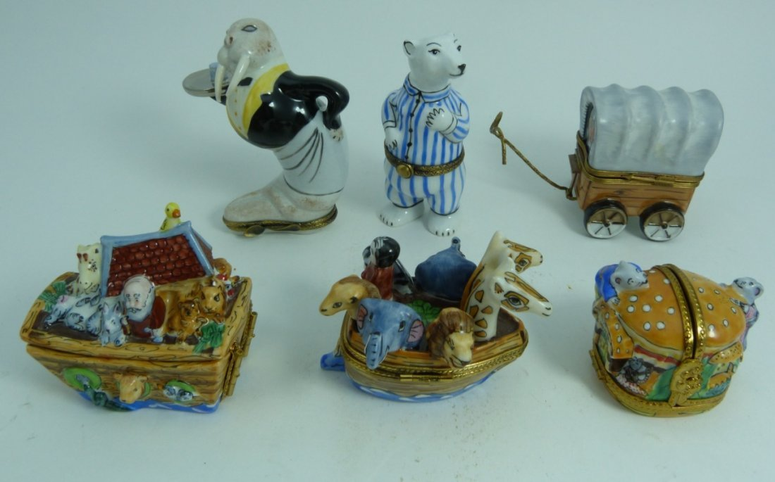 6pc LIMOGES FRANCE PORCELAIN TRINKET BOXES