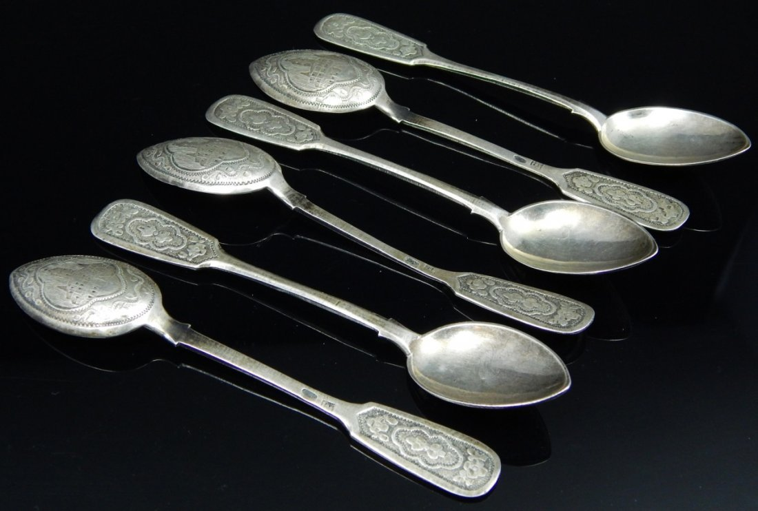 6pc RUSSIAN 1898-1908 SILVER ENGRAVED SPOONS