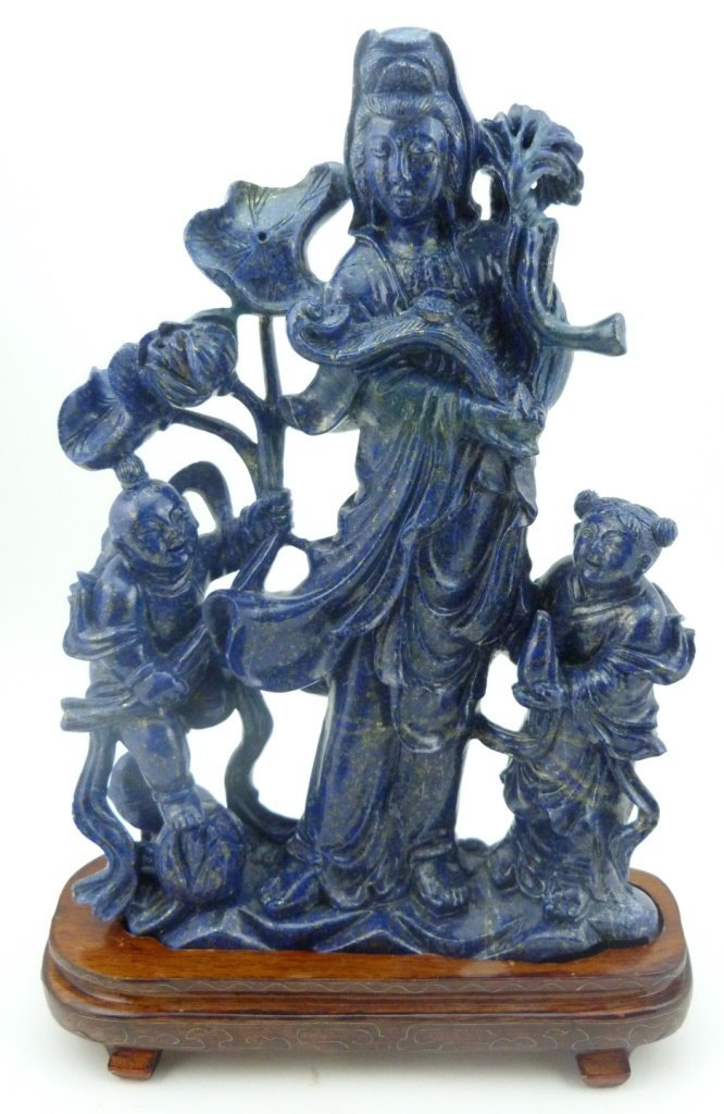CHINESE LAPIS SCULPTURE OF QUAN YIN w CHILDREN