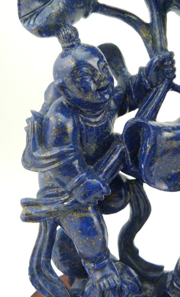 CHINESE LAPIS SCULPTURE OF QUAN YIN w CHILDREN - 3