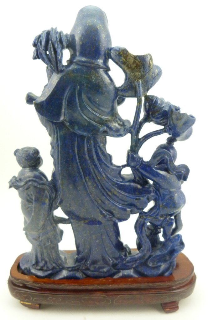 CHINESE LAPIS SCULPTURE OF QUAN YIN w CHILDREN - 6