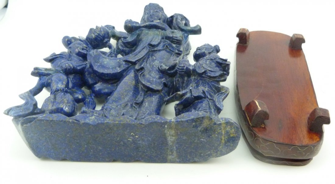 CHINESE LAPIS SCULPTURE OF QUAN YIN w CHILDREN - 8