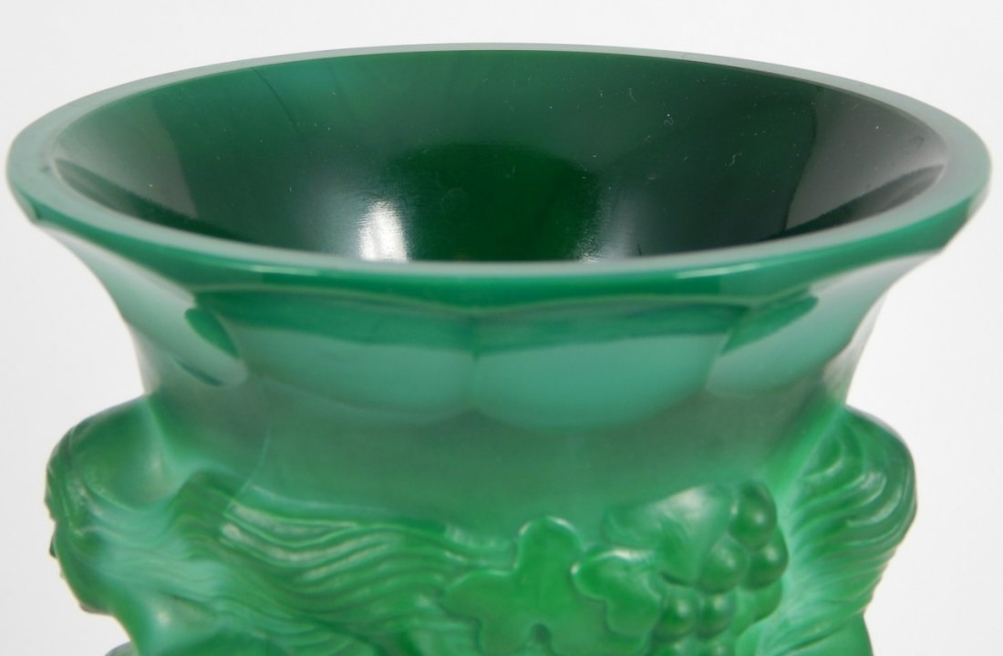 MALACHITE GLASS VINTAGE FIGURAL VASE & ASHTRAY - 5