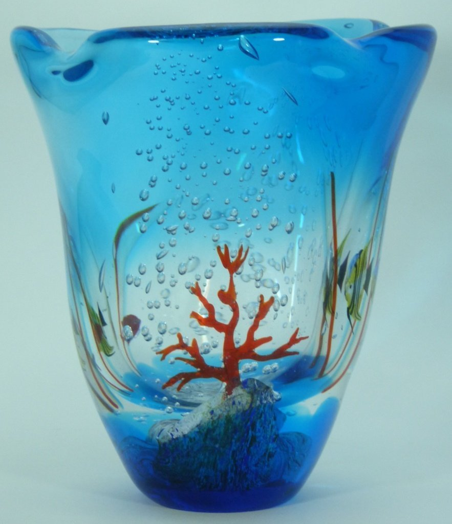 LARGE MURANO ITALIAN UNDERWATER ART GLASS VASE - 10