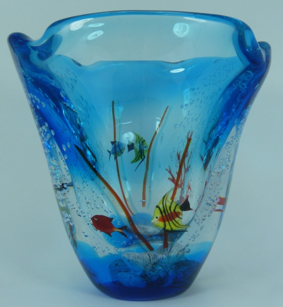 LARGE MURANO ITALIAN UNDERWATER ART GLASS VASE