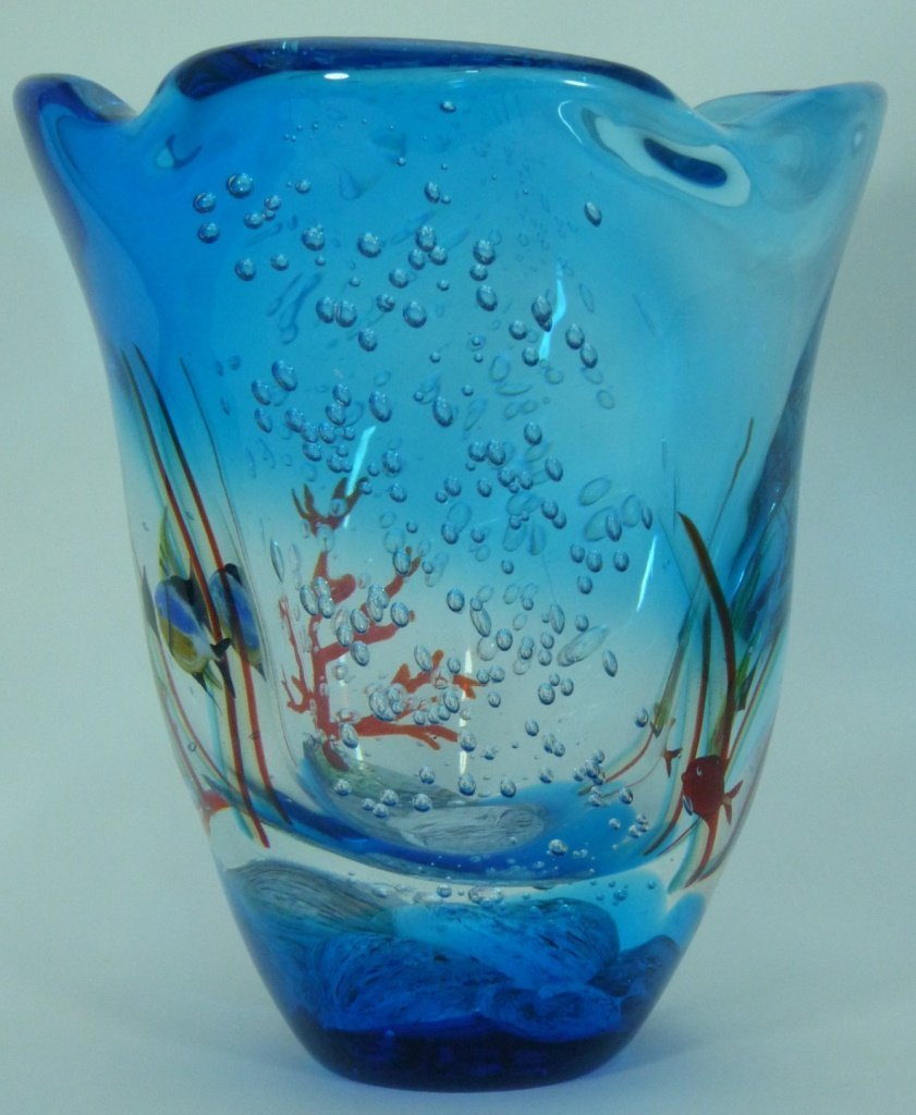LARGE MURANO ITALIAN UNDERWATER ART GLASS VASE - 2