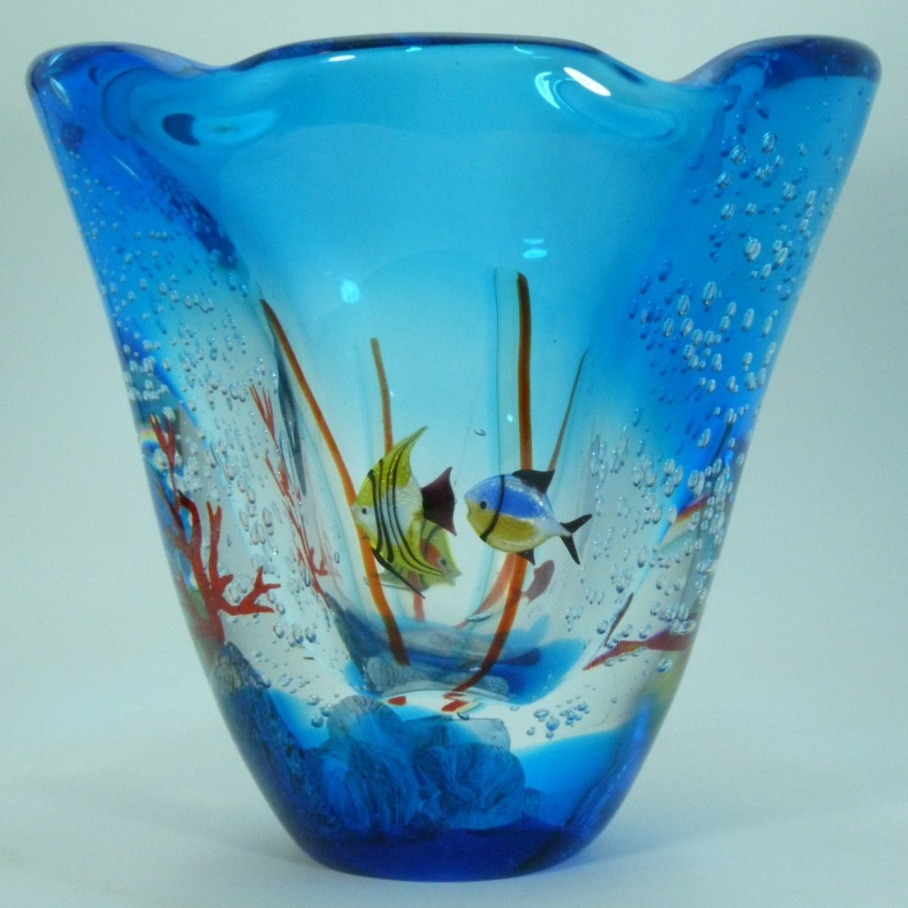 LARGE MURANO ITALIAN UNDERWATER ART GLASS VASE - 3