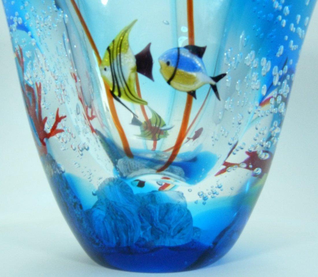 LARGE MURANO ITALIAN UNDERWATER ART GLASS VASE - 4