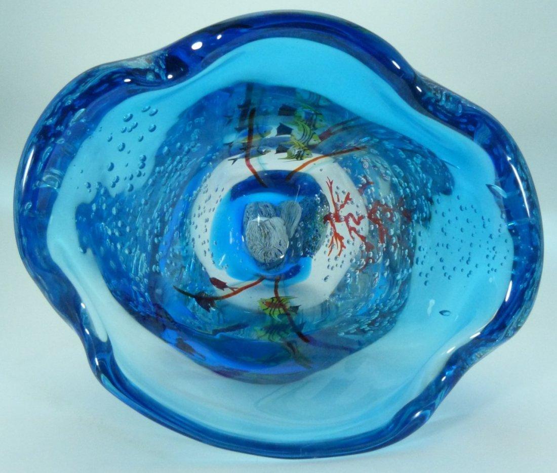 LARGE MURANO ITALIAN UNDERWATER ART GLASS VASE - 5