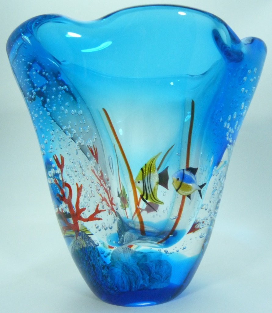 LARGE MURANO ITALIAN UNDERWATER ART GLASS VASE - 6