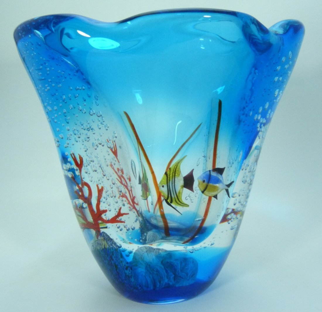 LARGE MURANO ITALIAN UNDERWATER ART GLASS VASE - 7