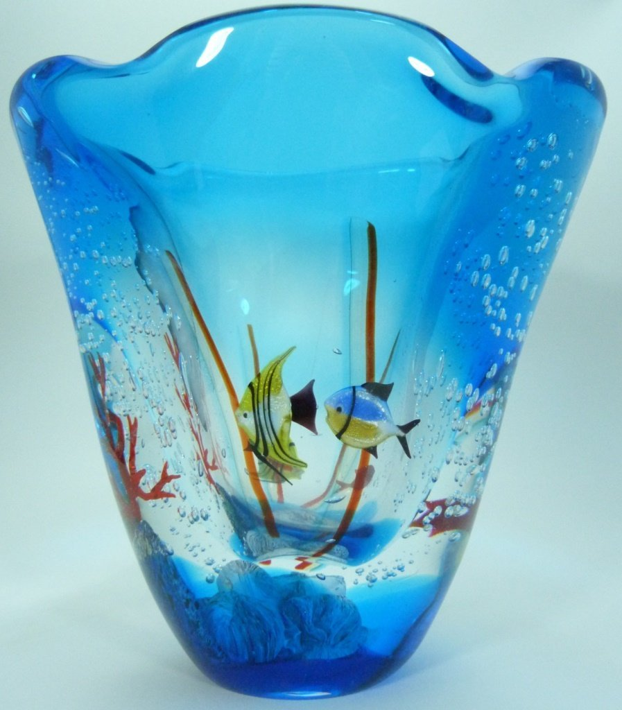 LARGE MURANO ITALIAN UNDERWATER ART GLASS VASE - 8