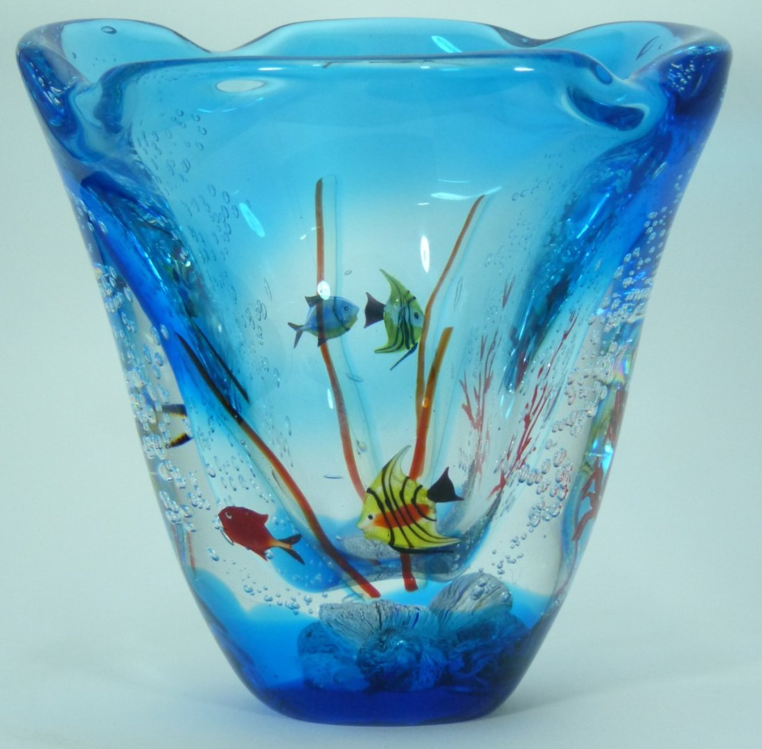 LARGE MURANO ITALIAN UNDERWATER ART GLASS VASE - 9