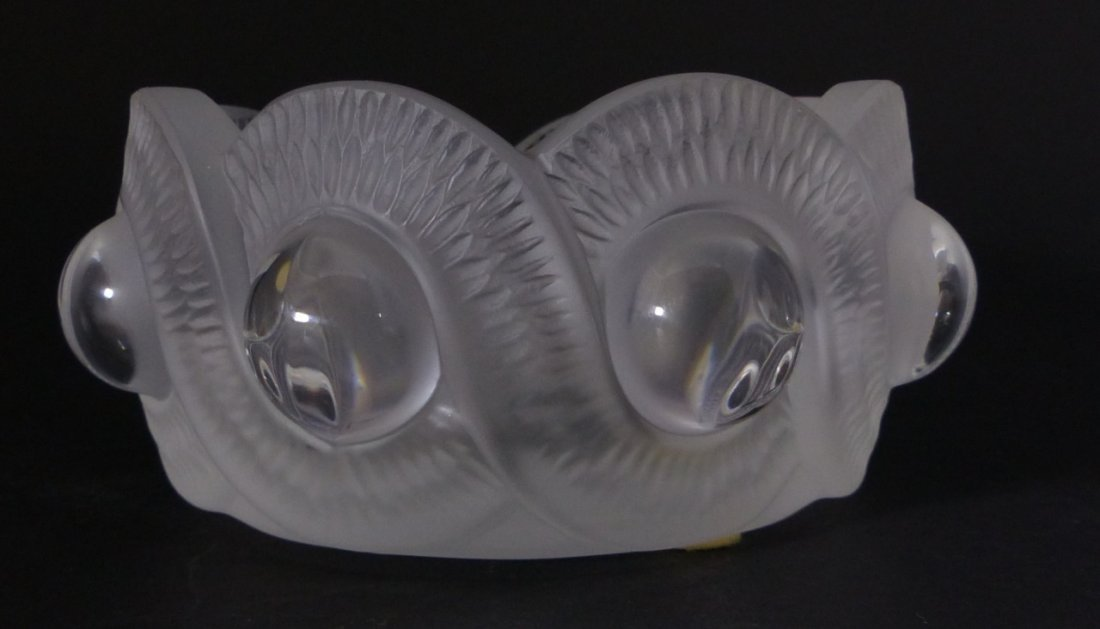 LALIQUE FRANCE GAO CENDRIER CRYSTAL ASHTRAY w BOX - 2