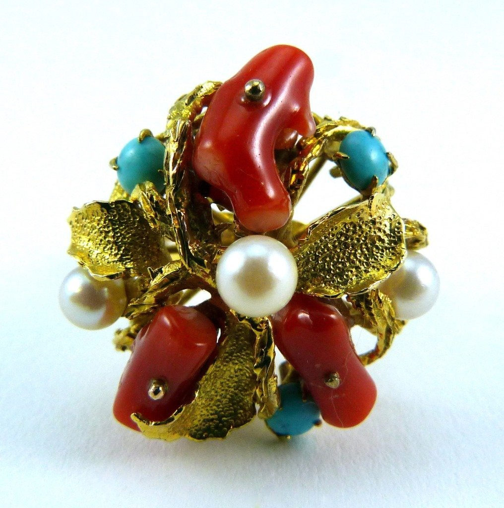 8KT YELLOW GOLD CORAL TURQUOISE PEARL RING