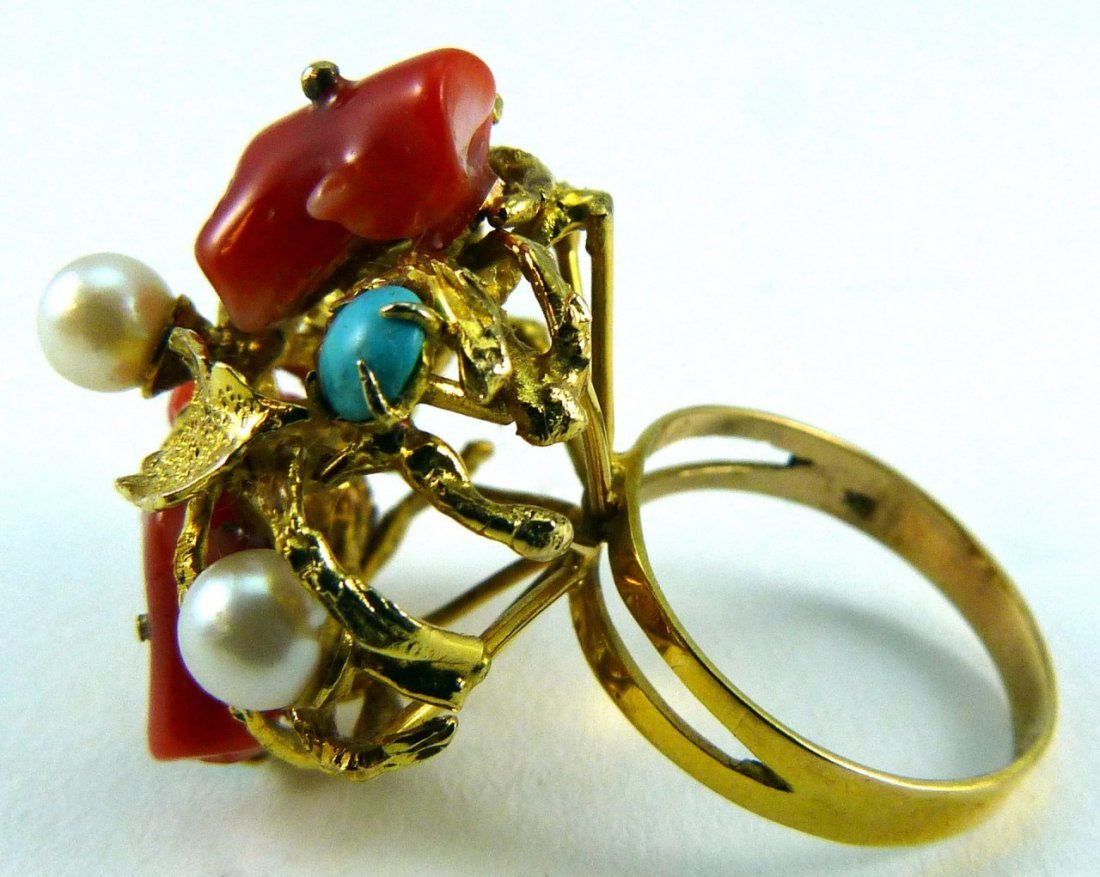8KT YELLOW GOLD CORAL TURQUOISE PEARL RING - 2