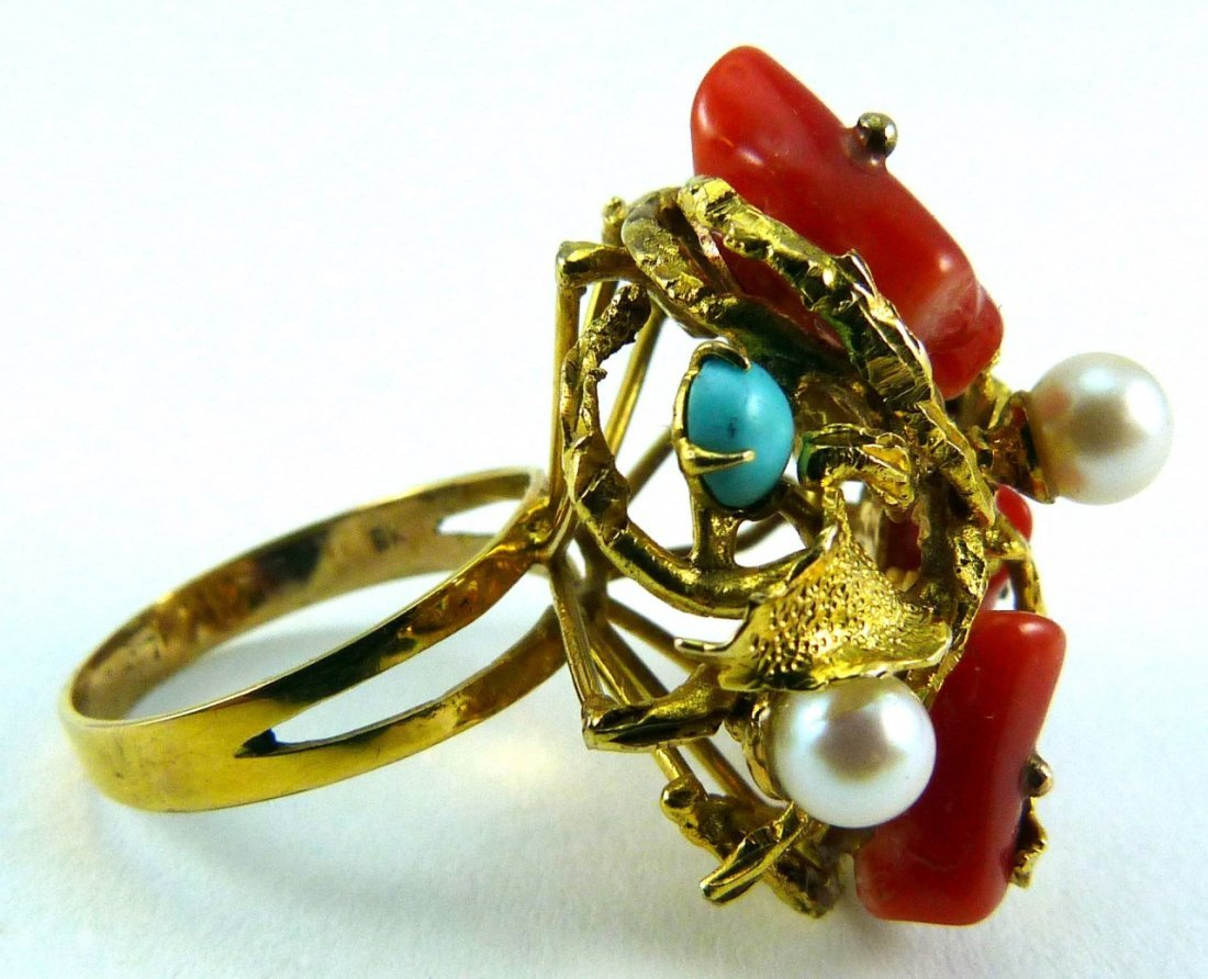 8KT YELLOW GOLD CORAL TURQUOISE PEARL RING - 4